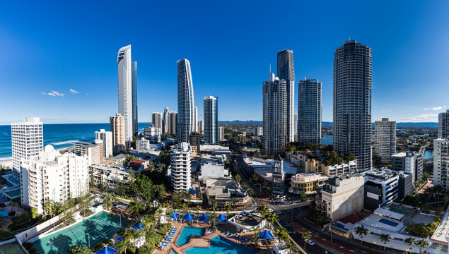 Aerial view of Gold Coast , home for 2018 Commonwealth Games