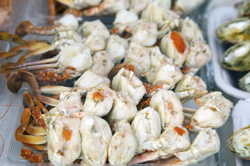 Steamed crabs and crab's spawn with seafood spicy sauce, Thai seafood