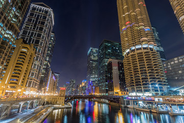 Chicago downtown by the river at night