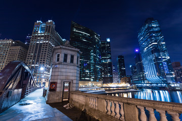 Chicago downtown  illuminated view by the river