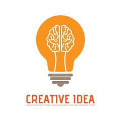 Creative Brain Light Bulb Idea Vector