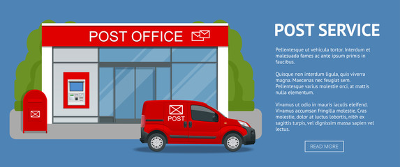 Banner Post office service with postman riding car for delivery. Vector illustration isolated on background. Correspondence isolated vector illustration