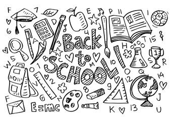 Hand drawn school supplies