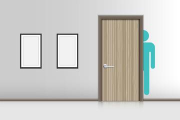 Realistic single door and interiors decorative of resting room, Indoor concept