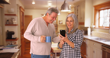 Portrait of a mature white couple looking at a cellular phone