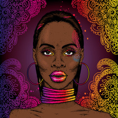 African girl in ornaments. Rings on the neck and earrings. Beautiful black woman in gold. Vector illustration. Fashion & Style.