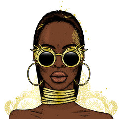 Beautiful African girl wearing glasses. Black woman. Vector illustration, fashion and style.