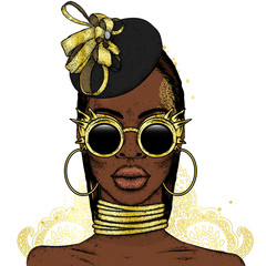 Beautiful African girl in glasses and hat. Black woman. Vector illustration, fashion and style.