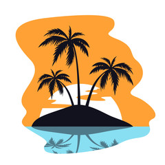 Vector tropical island illutration, beach theme, palm trees, sea or ocean, coast and the sun. Travel banner
