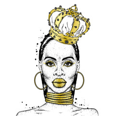 Beautiful African girl in the crown. Black woman. Vector illustration, fashion and style.