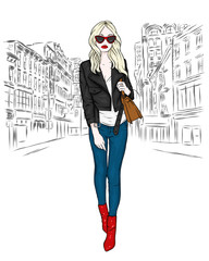 A beautiful girl in jeans, a blouse and in high-heeled shoes. A stylish woman with long hair and a bag. Fashion and style, clothing and accessories. The vector eps10.