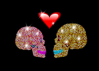 I love you, Shiny glittering skulls Couple in love. Concept of love, Valentine's Day, Day of the dead. Man and Woman skull on red glossy Heart. Bridal Shower Invitation with Skulls of Bride and Groom