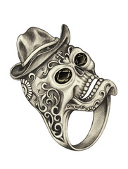 Jewelry Design Ring Skull Day of the dead. Hand pencil drawing on paper.