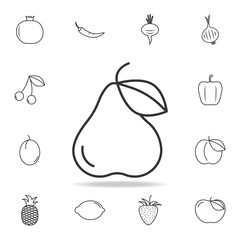 Pear icon. Set of fruits and vegetables icon. Premium quality graphic design. Signs, outline symbols collection, simple thin line icon for websites, web design, mobile app