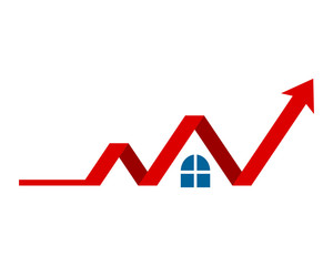 house arrow chart image vector icon logo
