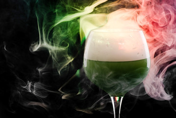 Wine glass with smoke inside and out