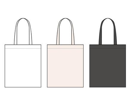 ECO BAG fashion flat technical drawing template