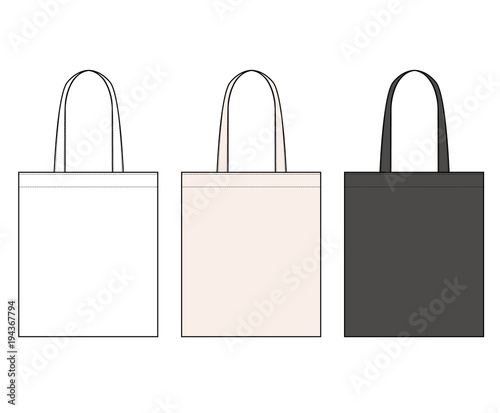 ECO BAG Fashion Flat Technical Drawing Template