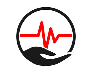 heart rate circle hand image vector icon logo