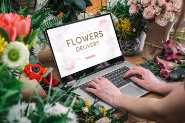 Yong florist using interface of online flower shop