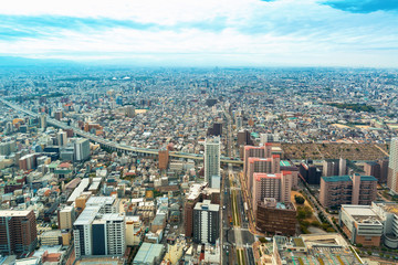 Aerial view of the Osaka cityscape in the morning