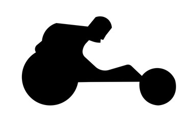 wheelchair racing silhouette clipart on white background