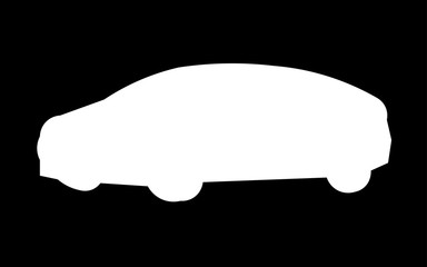 white car silhouette png on black background