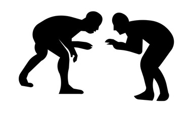 wrestling silhouette clip art on white background