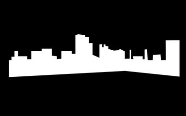 white dayton skyline silhouette on black background