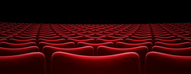 movie theater red seats 3d illustration