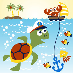 Marine life cartoon with, turtle, crab, fishes, squid