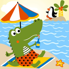 Funny alligator cartoon holiday time