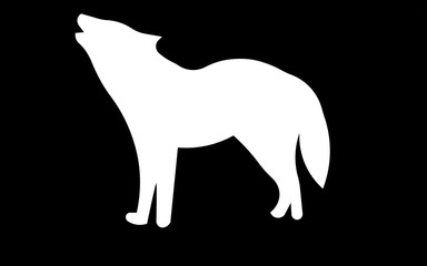 white howling wolf silhouette clip art on black background