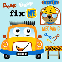 Funny car cartoon with little mechanic