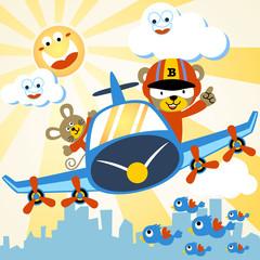 Fun flight at summer with funny pilots cartoon