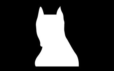 white pitbull face silhouette on black background