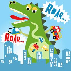 Green monster cartoon attack a city
