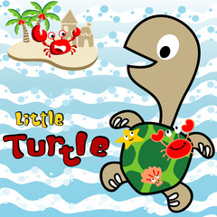 Turtle and friends, marine life cartoon