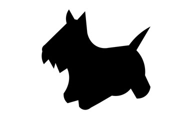 scottie dog silhouette on white background