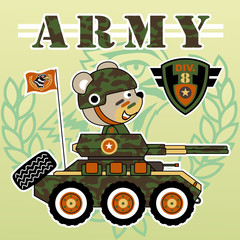 cute soldier cartoon on armored vehicle
