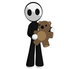 Character Mascot Holding Teddy Bear