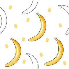 Vector seamless pattern with bananas. Watercolor and outline