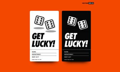 Get Lucky ID Tag Cards with Two Dice Rolling Sixes