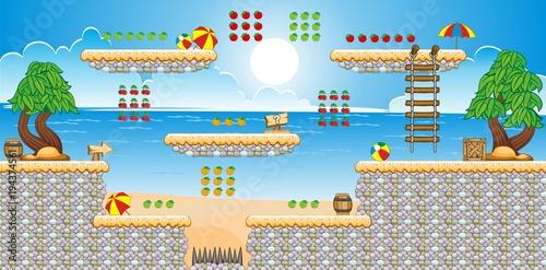 Tile set Platform for Game - A set of layered vector game