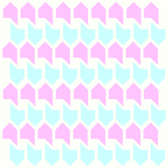 A illustration consisting of a cute pattern of pink and blue shapes on a ivoty background./ Vector design./ Decorative patterns.