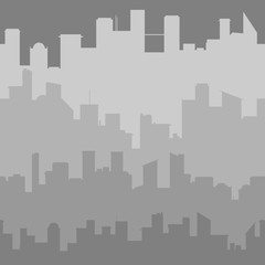 Grey city skyline. Seamless vector