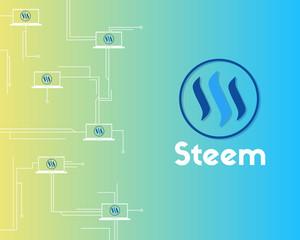 Blockchain Steem technology network background collection