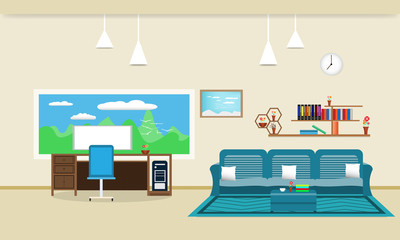 living room interior design relax with sofa and Computer table - chair bookshelf window sky cloud landscape meadow Bird on mountain in wall color cream background. vector illustration