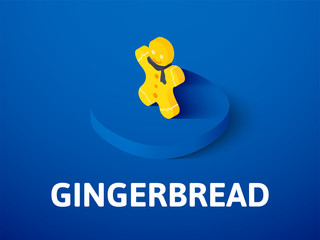 Gingerbread isometric icon, isolated on color background