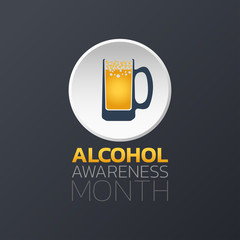 Alcohol Awareness Month icon design, infographic health, medical infographic. Vector illustration